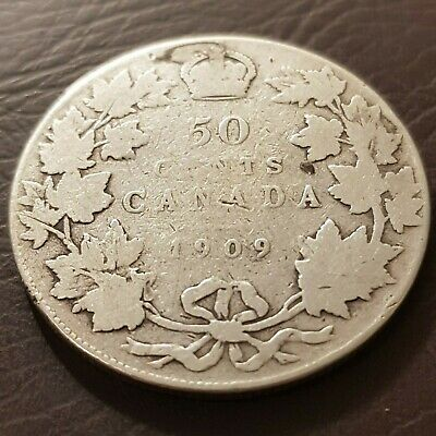 1909 Canada Silver 50 Cents Edward VII Fifty Cent Half Dollar Coin