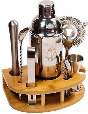 Stock Harbor 8 Piece Stainless Steel Bartender Set with Curved Bamboo Base Kitch