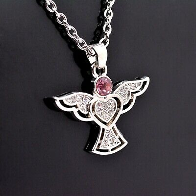 Cute Little Guardian Angel Pendant Necklace with Sparkly Crystals