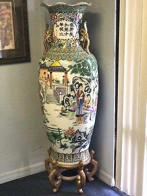 "Vintage Asian Floor Vase Palatial Chinese Garden Temple Scenes 51""H Makers Marks"