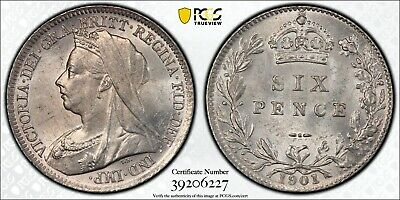1901 Great Britain 6 Pence PCGS MS63 + S-3941 Silver Registry Coin