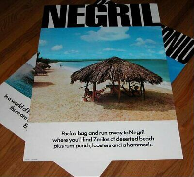 Vintage 70's Negril Jamaica Tourist Board Poster Out of Print Uncircullated New