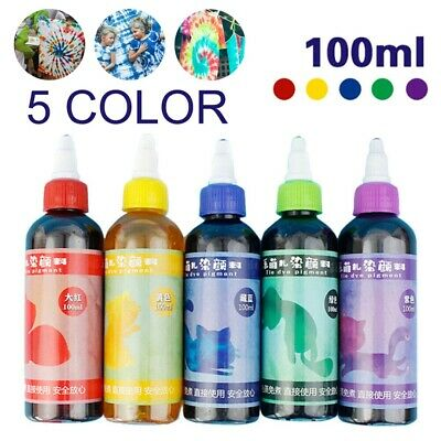 5 Colors 100ml Tie Kit Arts Design Fabric Tye Dye Art Craft One Step Fashion Set