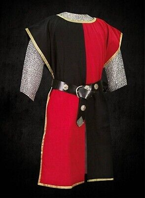 MEDIEVAL Black & Red Knight Tunic Surcoat Crusader Sleeveless Renaissance LARP