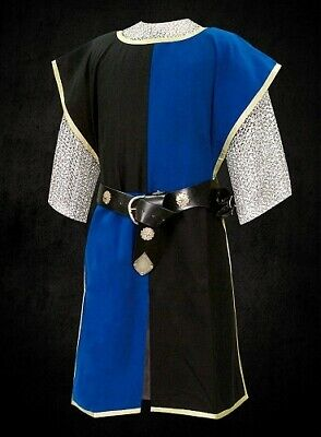 MEDIEVAL Black & Blue Knight Tunic Surcoat Crusader Sleeveless Renaissance LARP