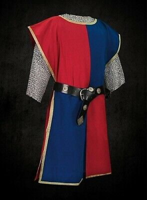 MEDIEVAL Red & Blue Knight Tunic Surcoat Crusader Sleeveless Renaissance LARP
