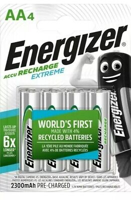 4 x Energizer AA Rechargeable Batteries 2300 mAh NiMH New!