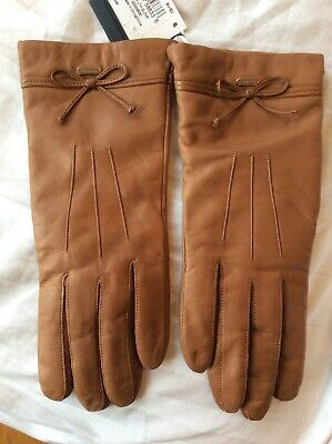 New Coach Ladies Saddle Color Bow Leather Gloves Merino Wool Lined Size 7