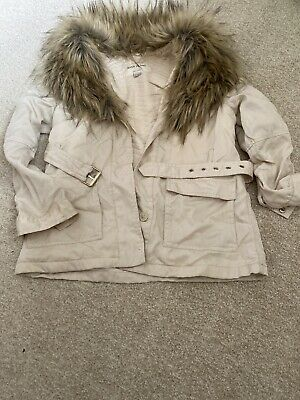 River Island Light Weight Stone Jacket With Fur Colar Age9/10 Stunning