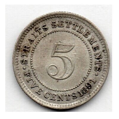 Straits Settlements 5 Cents 1891 (80.0% Silver) Coin