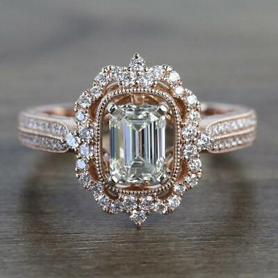 2.50ct Emerald Cut Diamond Real 10k Rose Gold Vintage Style Engagement Ring SZ 7