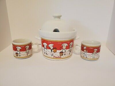 2001 Campbell's  Soup Tureen Bowl, Lid,  and 2 Soup Mugs