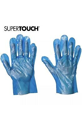 SuperTouch Blue 100 Disposable Gloves Single Use Powder Free Plastic Food Safe