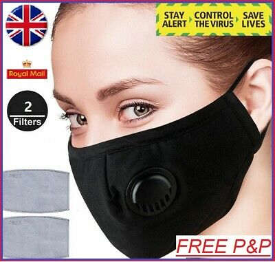Anti Air Pollution Face Mask Protective Respirator & 2 Filters Washable Reusable