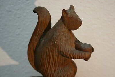 Old Folk Art Squirrel Holding Acorn Wood Carving Antique Folk Art Toy Sculpture