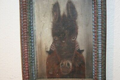 Antique Folk Art  Child on Donkey Oil Painting on Wood Early Humorous Primitive