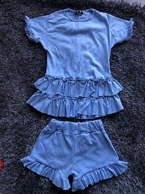 Girls Blue Shorts Outfit Age 10 Years (a7)