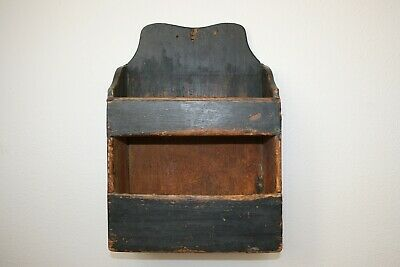 Early Painted Hanging Double Candle Wall Box ca 1800 Primitive Antique American