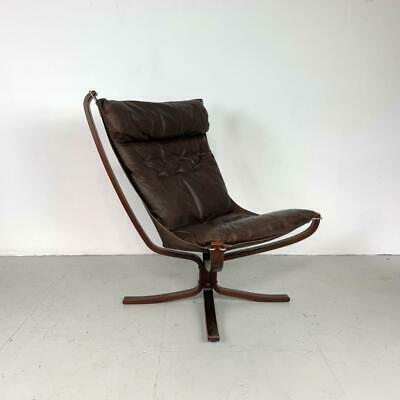 Vintage Brown Leather Falcon Chair By Sigurd Resell Ressell Midcentury #2926
