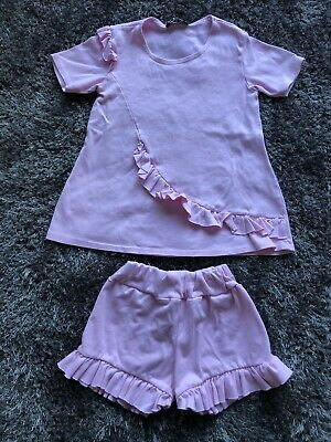 Girls Pink Shorts Outfit Age 9-10 Years (a7)