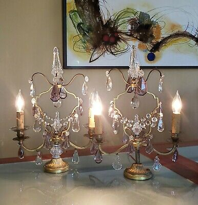 Pair French Antique VTG Amethyst Girandole Chandelier Table Lamps Signed FRANCE