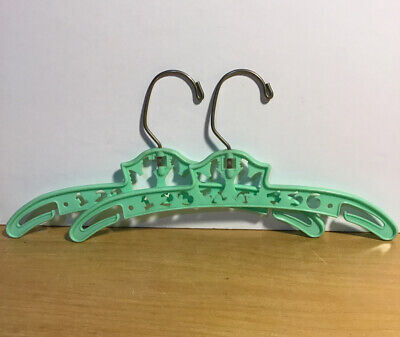 Vintage Nursery Baby Clothes Hangars - Green With Roosters & Numbers Kids Decor