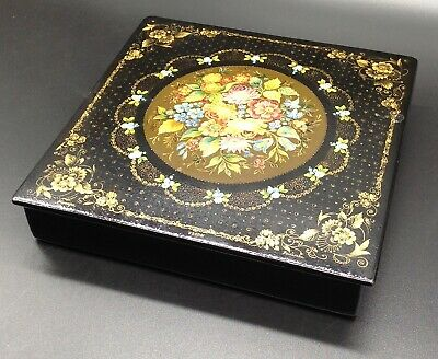 Vtg Russian Lacquer Box signed art finely hand painted tole floral flowers