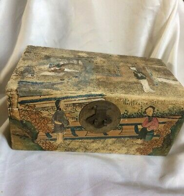 Vintage Oriental Chinese / Japanese ?Treen Wooden Ware Box,28 X 15.5Cm