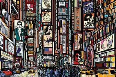 Laminated Illustrated Times Square Art Print Poster 36x24 Inch