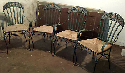 Vintage Wrought Iron 4 Chairs with Wicker Seats, Patina Look