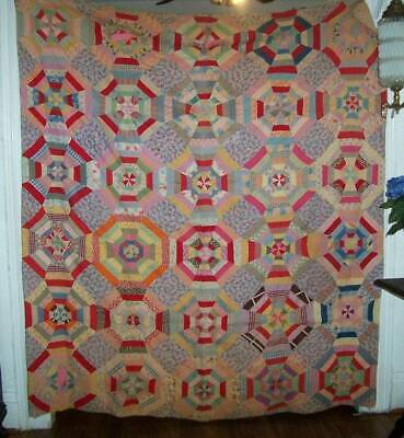 Vintage FEEDSACK 1890s-1910 Quilt Hand sewn