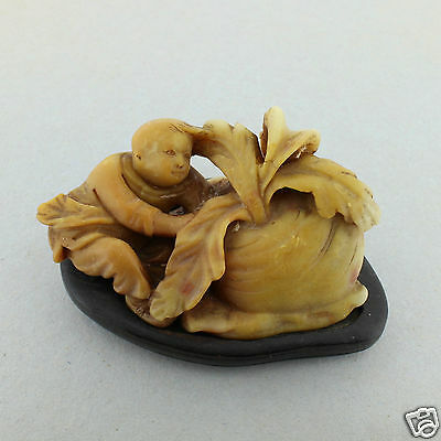 Old or Antique Chinese Soapstone Carving Boy with Turnip - #2 - VR