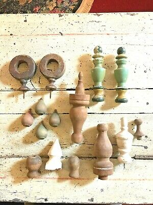 15 Vtg Turned Wood Finials ~Furniture, Architectural, Clock, Industrial Salvage