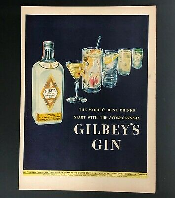 1942 Gilbey's Gin Advertisement Cocktail Drink Glasses Vintage Gilbeys Print AD