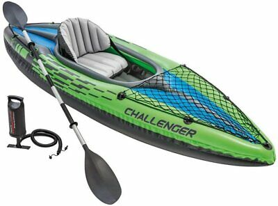 New Intex K1 Challenger 1 Man Person Inflatable Kayak Canoe with Oars & Pump UK