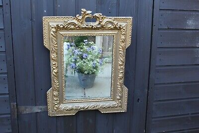 Eye Catching Antique Ornate Gold Wooden Framed Mirror Distressed Glass Stylish
