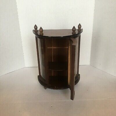 Miniature Curio Curved Cabinet case with Mahogany wood  measures 16 x 16 x 51/2