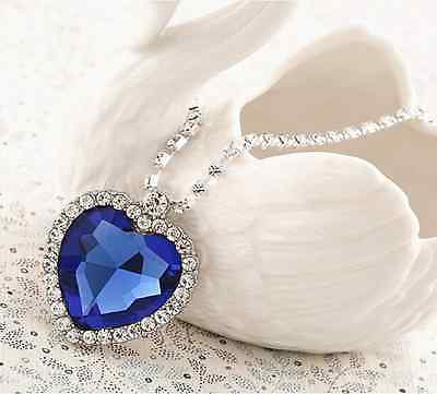 NEW Titanic Heart of the Ocean Necklace & Pendant with Blue Crystal Rhinestone