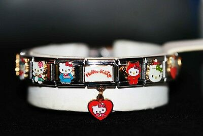 Authentic~Casa D'oro~New~Hello Kitty Charm Bracelet~Extra Extension Charms
