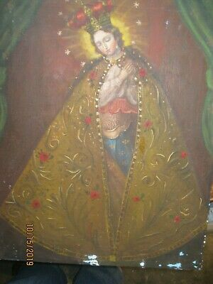 Original Vintage Oil Painting On Canvas Virgin Mary Great Colors And Brushwork