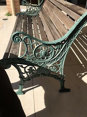 Lion Face Cast Iron  And Timber Garden Bench