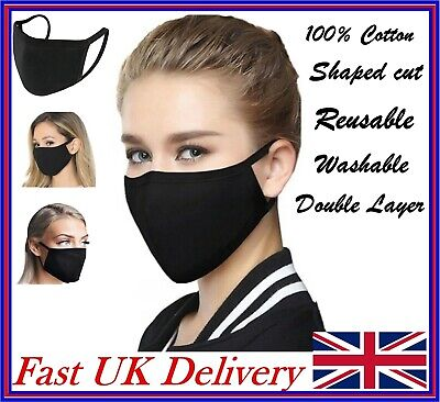 Black Cotton Face Mask Mouth Cover washable Reusable Mask Adult Unisex -  UK