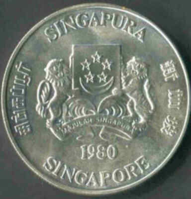 SINGAPORE 1980 $50.00 Commemorative Silver Coin Uncirculated