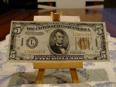 1934/A $5 Silver Certificate Hawaii,Ww2 Issue,Vf Condition,Great Eye Appeal