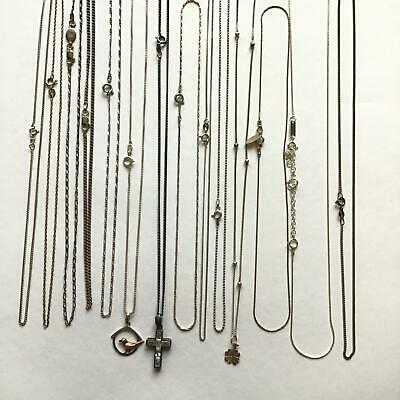 14 Sterling Silver Bulk Fine Chain Necklaces Variety of Styles #309