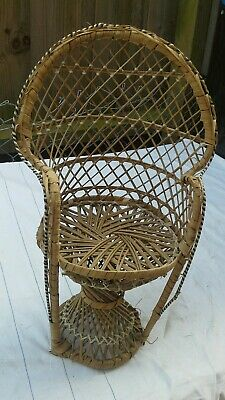 Small Wicker Peacock Dolls Chair Plant Stand 70s Boho Vintage Retro