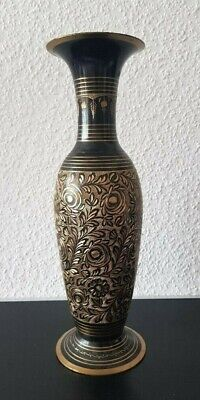 Messing Vase Handarbeit Gravur Chinar Made in India