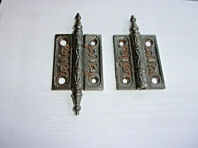 Set Antique Cast Iron East Lake Door Hinges 3 X 2 1/2 Inches. Old Paint & Rust