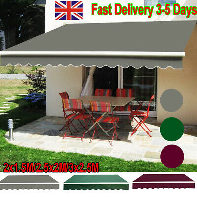 DIY Retractable Manual Awning Canopy Outdoor Patio Garden Sun Shade Shelter UK