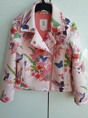 Girls Floral Biker Jacket Age 9-10